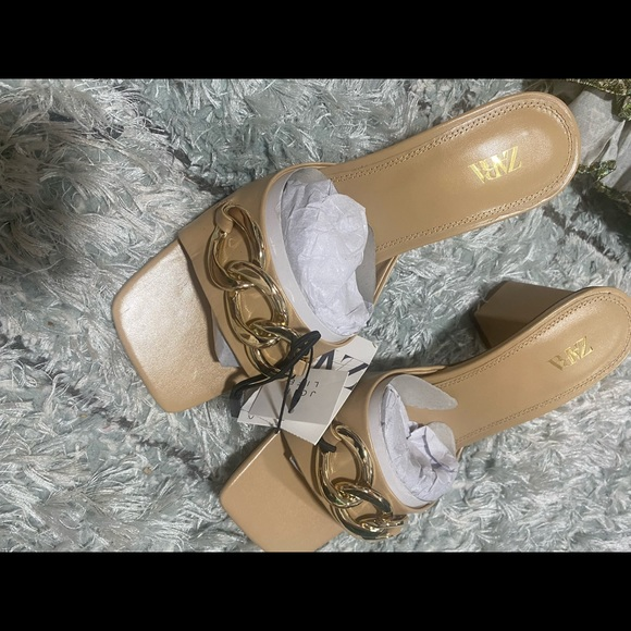 Zara goat leather chain trim wide heel sandals